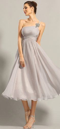 A Line One Shoulder Empire Waist Formal Dress