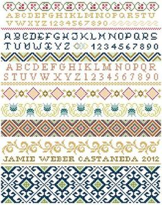 This cross stitch band sampler is made up of alphabets and geometric and floral borders stitched in a combination of bright and pastel colors. Cross Stitch Sampler Patterns, Embroidery Sampler, Cross Stitch Borders, Cross Stitch Samplers, Learn Embroidery, Cross Stitch Designs, Cross Stitching, Cross Stitch Embroidery, Knitting Charts