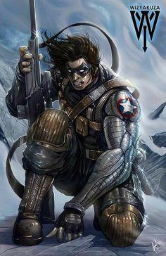 Winter Soldier Art by Wizyakuza Marvel Dc Comics, Heros Comics, Marvel Heroes, Marvel Avengers, Rogue Comics, Comic Book Characters, Marvel Characters, Comic Character, Comic Books Art