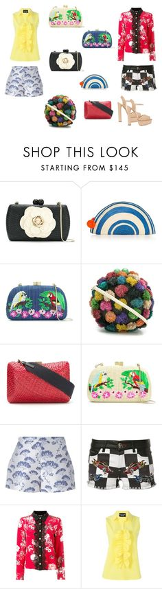 """Straw Clutch Bag..**"" by yagna ❤ liked on Polyvore featuring Serpui, Sophie Anderson, Giambattista Valli, Philipp Plein, The Kooples, Boutique Moschino, Casadei and vintage"