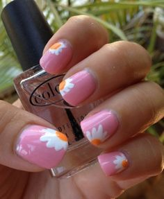Super easy flower Manicure. Not usually into crazy nail stuff but this is really cute and subtle. Anna will love it.