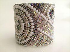 swarovski crystal, jewelry, bracelet, hollywood glamour, rhinestone bracelet, vintage jewelry, upcycled recycled, bridal jewelry, cuff on Etsy, $40.00