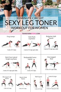 Just get sexy legs! # workout This exercise gives you the sexy legs that you have always dreamed of. A light workout for women in 30 minutes or less! Get these sexy legs by applying this leg toner at least three times a week. And see fast results. Fitness Workouts, Fitness Routines, Easy Workouts, At Home Workouts, Fitness Motivation, Inner Leg Workouts, Leg Workout At Home, Leg Workout For Beginners, Home Circuit Workout