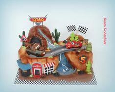 Cars cake - cake by Karen Dodenbier Car Themed Parties, Cars Birthday Parties, Boy Birthday, Birthday Cakes, Car Cakes For Boys, Race Car Cakes, Fruit Cake Watermelon, Hot Wheels Cake, Lightning Mcqueen Cake