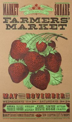 FARMERS MARKET STRAWBERRY Hand Printed Letterpress Poster