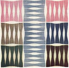 """""""A design of good character, with the flatness appropriate to tiles. Although it has only two pattern ways, the opportunities of pattern making are multiplied by the number of colour ways also offered. DESIGNER T. B. Janes. MAKER H. & G. Thynne Ltd. """""""