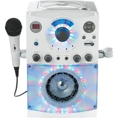 THE SINGING MACHINE SML385w; Sound & Light Show Karaoke System (White) • CD/CD+G player • Disco light effect • Karaoke control • Auto voice control • 2 microphone jacks • Built-in stereo speaker • Whi