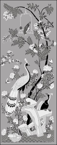 Chinese Style Peacock Panel stencils, stensils and stencles