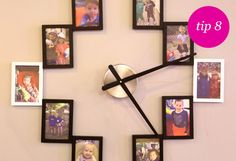 Take picture frames and arrange on a wall with clock hands to display your photos in a creative way!  Handy Ma'am's 'Use What You Have' Tips | Bethenny.com