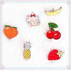 Free Shipping Cartoon Cat  Peach Strawberry Cherry Pineapple Banana Cute Metal Brooch Pins Button Pins For Women Gift Wholesale. Yesterday's price: US $1.99 (1.69 EUR). Today's price: US $0.82 (0.68 EUR). Discount: 59%.