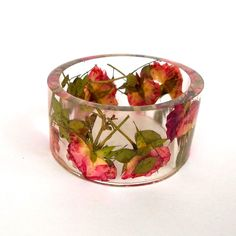 Size XXL  Botanical Resin Bangle.  Pink and Yellow Roses Pressed Flower  Bracelet.  Plus Size Bangle with Real Flowers..  via Etsy.