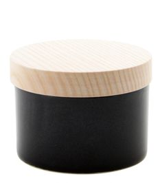 Hand-thrown Porcelain Jar with wooden lid by Cecilia Forsberg, Denmark. H 8 Ø 10 cm. All objects are one-off,