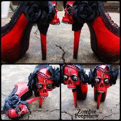 "Sugar Skull ""Muerto"" Day of the Dead Heels by kaylastojek on Etsy https://www.etsy.com/listing/197854144/sugar-skull-muerto-day-of-the-dead-heels"