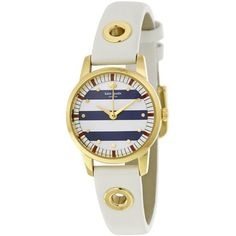 35cb229362b9 Shop for Kate Spade Women s  Mini Metro  Striped Dial White Leather Watch.  Get free delivery at Overstock - Your Online Watches Store!