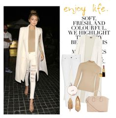 """""""Gigi Hadid in Beige + camel"""" by gabriela2105 ❤ liked on Polyvore featuring Folio, La Mania, Topshop, Chanel, Givenchy and Lulu*s"""