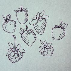 healdsburg summer, by wendy macnaughton. Strawberry Tattoo, Strawberry Drawing, Art Sketches, Art Drawings, Sketch Note, Cute Tattoos, Pretty Tattoos, Mini Tattoos, Small Tattoos
