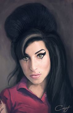Amy Winehouse Crying Fan Art Painting