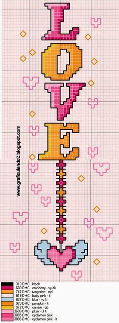 Cross-stitch Love Bookmark... http://nikiad.blogspot.com/