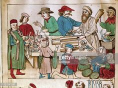 Fine art : A Market Scene. Miniature from the Chronicle of Ulrich of Richenthal. c.1438. National Library, Prague, Czech Republic