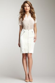 Zip Front Skirt by Rebecca Taylor
