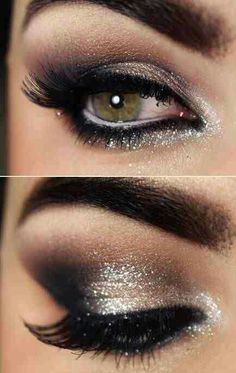 Glam out your eyes with silver liner.