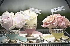 bridal shower favors + decoration = flower buds in tea cups