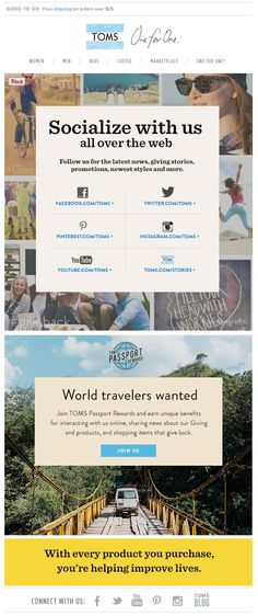 TOMS social email 2015 SL: Let's get closer, socially.
