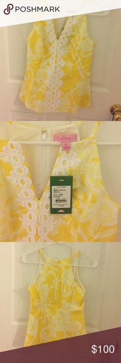 Lilly Pulitzer Tank top A brand new with tags, dandelion yellow Lilly Pulitzer tank top. Back zipper. White lace design in the front Lilly Pulitzer Tops Tank Tops