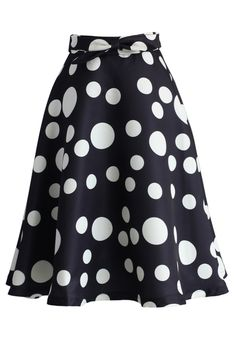 My Dots and Bow A-line Skirt in Black - New Arrivals - Retro, Indie and Unique Fashion