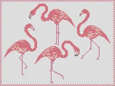 Pink Flamingos cross stitch pattern: flamingo by MKDesignArt Cross Stitch Bird, Cross Stitch Alphabet, Cross Stitch Samplers, Cross Stitch Animals, Cross Stitching, Cross Stitch Embroidery, Cross Stitch Patterns, Beginner Knitting Projects, Summer Quilts