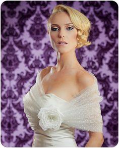 75% Off Bridal Shawl, Polka Dot Shrug, Bridal Illusion Tulle Wrap with Silk Flower