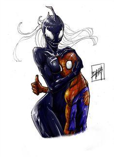 Spiderman and Venom girl Venom Comics, Marvel Dc Comics, Marvel Heroes, Marvel Venom, Venom Spiderman, Comic Kunst, Comic Art, Venom Girl, Spiderman Kunst
