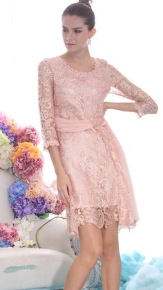 Pink Embroidery Lace Dress.