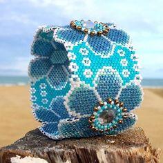 Bracelet, peyote, bleu, flower.