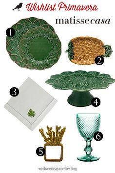 wishlist matisse com pratos de folhagem verde, prato de abacaxi, guardanapo com folha bordada, prato de bolo de folhagem, taça bico de jaca verde e porta guardanapo de coral amarelo com miçangas.