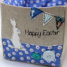 Easter bunny treat bags fabric blue rabbit set of 3 baby personalised easter egg hunt basket what better way to start easter than with an egg hunt negle Image collections