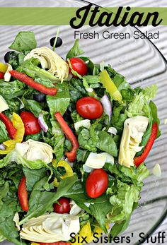 Italian Fresh Green Salad on SixSistersStuff.com - a quick and easy healthy recipe! Also recipe for Homemade Balsamic Vinaigrette dressing.