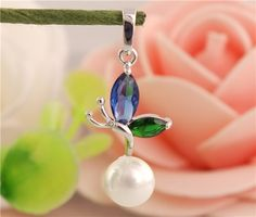 1PC Sterling Silver Cute CZ Dragonfly Nice Pearl Womens Pendant