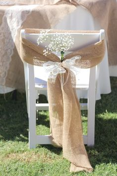 Rustic decor natural tan burlap folding chair wide sash in 2019 Wedding Reception Chairs, Wedding Chair Sashes, Wedding Chair Decorations, Wedding Table, Rustic Wedding, Wedding Chair Covers, Fall Wedding, Trendy Wedding, Elegant Wedding
