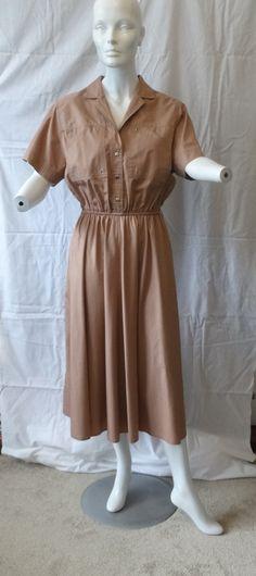 1980s Vintage Ms. Chaus Safari Style Dress, Size 14, Gorgeous Tan Khaki, Elastic Waist, Snap Front Closure, Eyelet Details, Chic 1980s Dress by VictorianWardrobe on Etsy