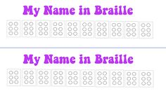 """My Name in Braille for Brownie """"Senses"""" Badge"""