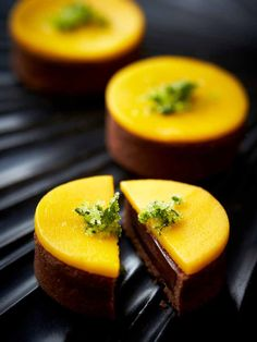 Chocolate, mango and coriander tarts