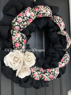 Farmhouse style burlap wreath with rustic rose and black flower ribbon accents Front Door Decor, Wreaths For Front Door, Door Wreaths, Farmhouse Style, Farmhouse Decor, Spring Home Decor, Porch Signs, Ribbon Work, Door Hangers