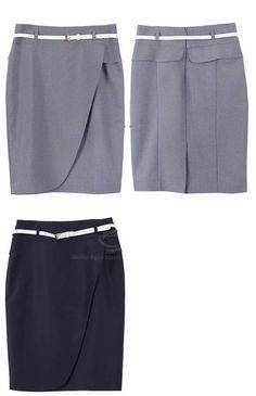 Graceful OL Style Women's Pencil Skirt(With Belt), GRAY, L in Skirts | DressLily.com