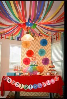 circus tent streamers above painting table?