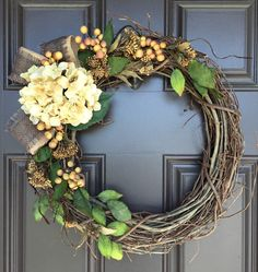 Natural looking Fall or all season grapevine by SimpleWreath
