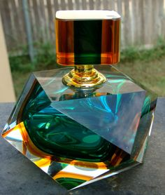 Vintage Labeled Murano Art Glass Blue/Green/Brown Faceted Perfume/Scent Bottle