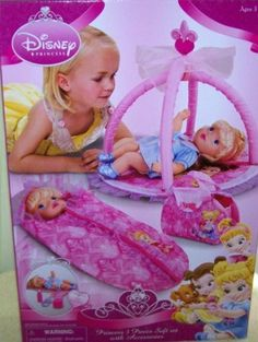 Disney Princess 3 Piece Soft Set Doll Accessories Playgym Travel Bag by disney. $23.95. Disney Princess 3 piece Doll Set. box size 18x12x3 inches. 3 Doll accessories (rattle, block, bottle). ages 3 and up. Includes 1 PlayGym, 1 Sleeping Bag, 1 Travel Bag. Disney princess 3 pc soft set with accessories! Let the imagination run wild with all of this to take care of baby princesses!