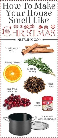 6 Easy Stovetop Potpourri Recipes for every season of the year! Fall, Christmas, Summer, and Spring. Great for gifts! weihnachten 6 Easy Stovetop PotPourri Recipes For Every Season Noel Christmas, All Things Christmas, Winter Christmas, Christmas 2017, Christmas Smells, Christmas Music, Christmas Playlist, Christmas Movies, Christmas Tables