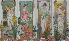 By Elizabeth Sonrel (French, 4 Nouveau Maidens Fleurs Art Nouveau, Alfons Mucha, Inspiration Art, Art Moderne, Illustration Artists, Oeuvre D'art, Art Images, New Art, Fantasy Art